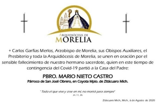 Fallecen tres sacerdotes michoacanos por Covid-19 en las últimas horas. Noticias en tiempo real