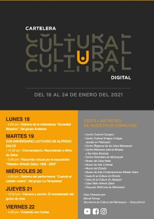 Regresa la Cartelera Cultural Virtual